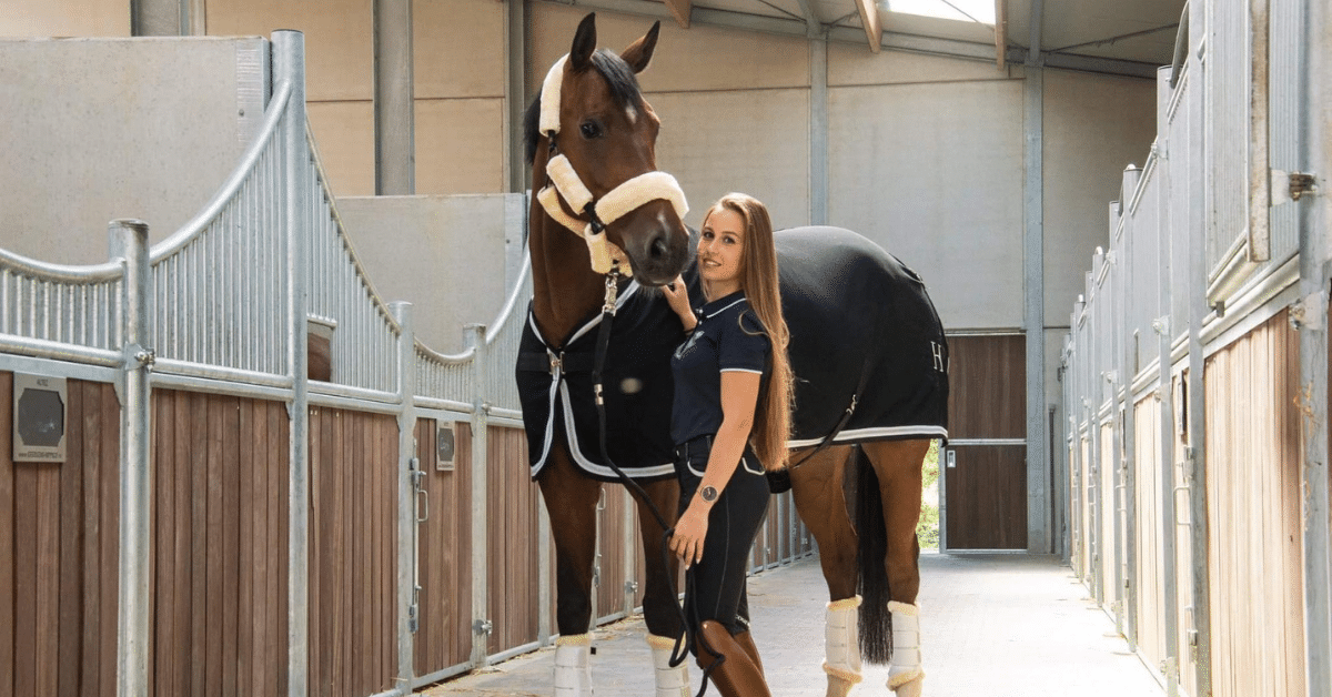 Horse in stable with girl